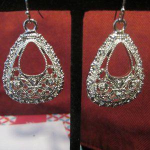 Ornate Oval Silver Drop Earrings Premier Designs